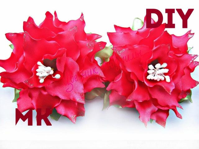 Цветы из лент Лилия канзаши мастер класс своими руками\ Flowers kanzashi master class\ DIY