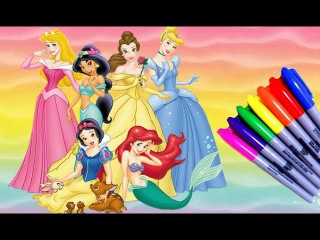 Disney Princess - Ariel, Cinderella, Belle, Snow white,Jasmine and Beauty Coloring Page