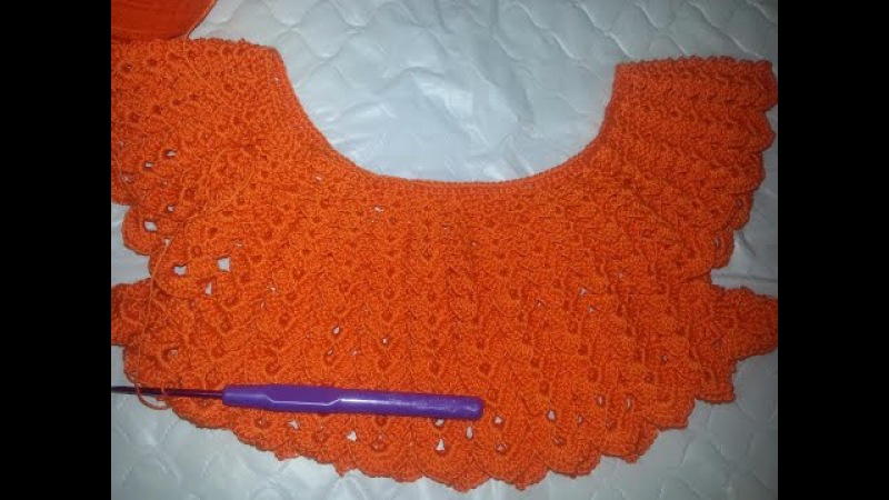 Вяжем круглую кокетку Платье на малышку часть 1(Knit round yoke dress in the baby part 1)