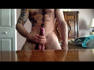 Hairy hunk jerking off his big cock