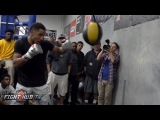 Kovalev vs. Ward- Andre Ward works the double end & heavy bag w/power punches, jabs & combinations