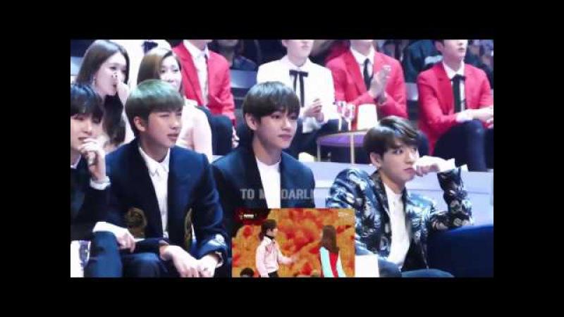161202 BTS(방탄소년단) reaction to GFRIEND(여자친구) SEVENTEEN(세븐틴) - Adore U VERY NICE @MAMA