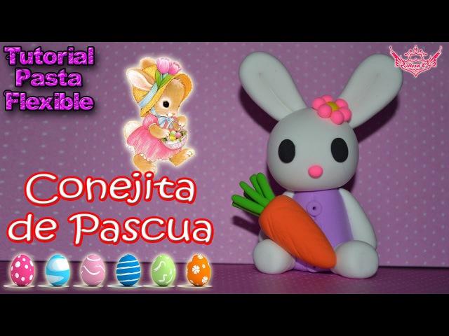 ♥ Tutorial: Conejita de Pascua hecha de Pasta Flexible o Porcelana Fría ♥