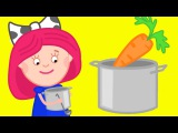 Cartoon for kids. Smarta and her magic bag. Vegetable soup. Animation like Dora the explorer.