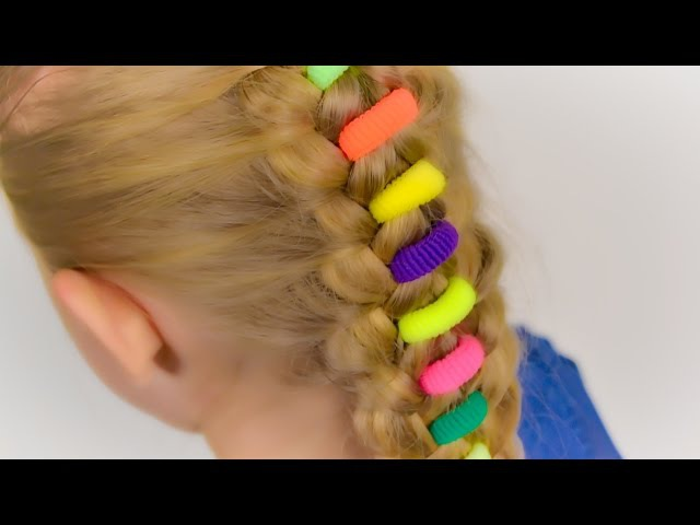 Beautiful braid with bright elastics. Quick and easy hairstyle for little girl 25