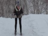 Как Алина хорошо катается на лыжах