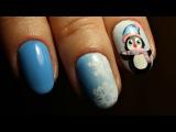 Зимний дизайн ногтей. Пингвин на ногтях