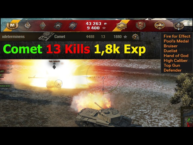 Comet 13 Kills 4,5k dmg 1,9k Exp