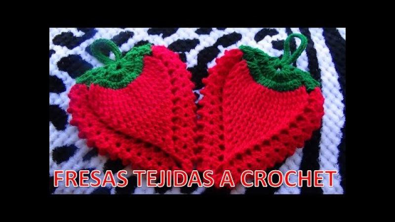 FRESA STRAWBERRY tejida a crochet para agarradera de ollas o adorno de cocina paso a paso
