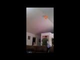 Папа знает как достать шарик с высокого потолка