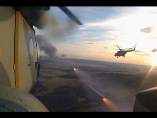 Учения с экипажами боевых вертолетов Ми-8 АМТШ «Терминатор» и Ми-35М «Крокодил» отдельного вертолетного полка ЮВО на Кубани