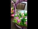 Корзины с тюльпанами из конфет Рафаэлло.