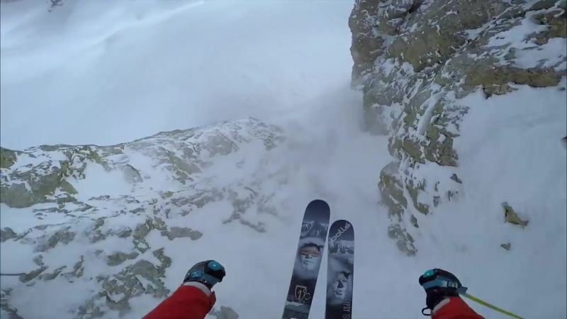 SS Wallride at Jackson Hole, 85 Foot Cliff Front Flip, Skiing Drone Powder