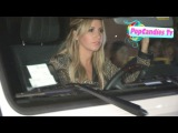 Ashley Tisdale & Samantha Droke caught up in Paparazzi Traffic departing Roosevelt in Hollwood