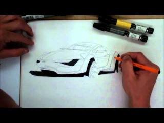 Sketch de carro usando marcadores