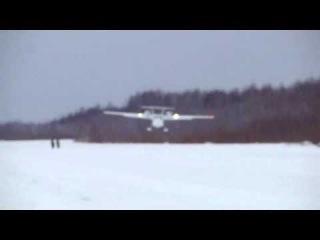 Посадка Л-44 на лыжах.wmv