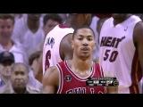 Derrick Rose 3 nasty dunks vs Heat (2011 NBA playoffs ECF GM4)