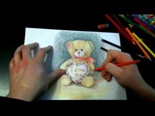 Рисуем Мишку ко дню Влюбленных (открытка)
