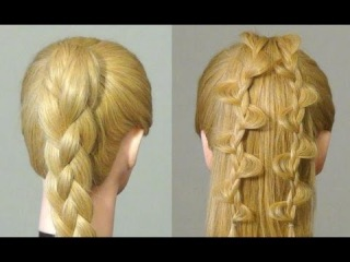 Прически: Коса из 4-х прядей, ажурная коса.  Easy braided hairstyles