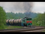 2TE10U-0081, 2TE10M-3650 and other 2TE10 series diesel locomotives on Polotsk - Molodechno (BCh)