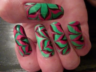 Christmas Xmas Flower Water Marble Nail Art Design Tutorial Technique On Long Natural Nails HD Video