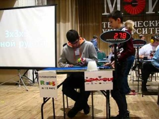 One-handed solve 21.21 at MPEI OPEN 2012