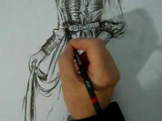 Karakalem Cerkez kızı çizimi / Semra VURDEM