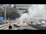 Exclusive video Audi R8 up in Flames in Mumbai at the Parx Supercar Rally 2013