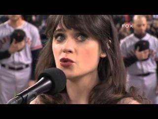 Zooey Deschanel sings anthem Game 3 of the World Series - 27 Октября, 2012