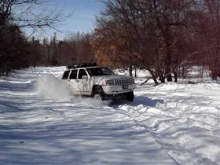 Jeep Grand Cherokee 5.9 at the sno blind rally west branch mi Lunch Break 1