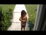 Girl plays with a Dead Squirrel