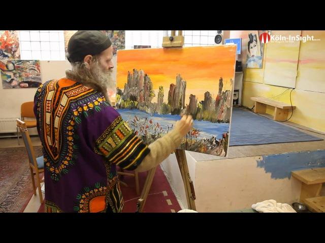 Марко Фигген (Marco Figgen) - художник бартист, который пишет картины собственной бородой, а не кистью.