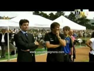 Juventus a Villar Perosa: giro di campo con la coppa Scudetto e la Supercoppa