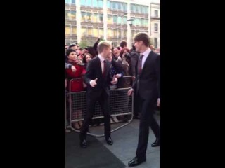 John, Edward and Tara Reid arriving at the Dublin premiere