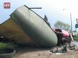 ДТП большегрузов. Камаз против Скании. Водители обеих машин погибли на месте.
