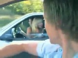 Girl In Car Flashes Her Bra & Then Crashes Into A Truck!