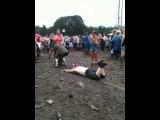 V Festival 2012 Man slides through mud into girls piss