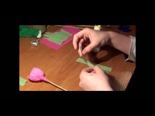 Розовый букет из конфет своими руками