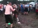 Man slides through mud into girl pissing
