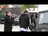 Kanye West & Kim Kardashian leave the Andy Lecompte Salon in West Hollywood, CA