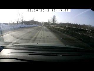 Чуть не расшибся об ЗИЛ 131 Видео с регистратора
