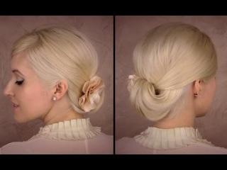 Легкая и быстрая элегантная прическа на волосы средней длины