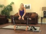Hot Blonde in Very Tight, Shiny Leggings
