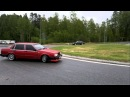 Volvo 740 gently drifts at roundabout