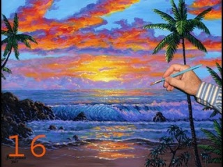 Video 3 Part 16 How to paint a beach sunset with acrylic Complete lesson instructions art