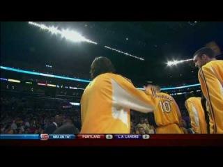 Lamar Odom's Foolish Pass To Sasha On The Bench!