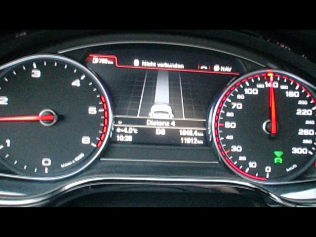 2011 Audi A8: The radar-guided cruise control in action on a foggy Autobahn