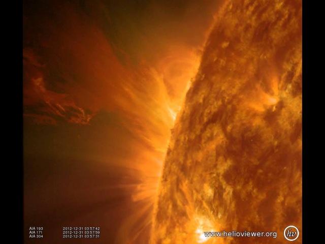 AIA 171/193/304 (2012-12-31 03:23:06 - 2012-12-31 04:22:30 UTC)