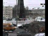 Автобус разорвал трамвай