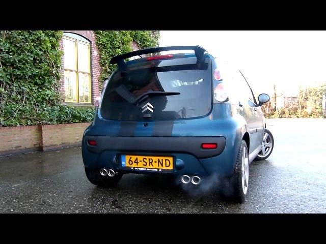 Citroën C1 1.0 met maatwerk RVS duplex sport- uitlaatsysteem van EPS Uitlaten